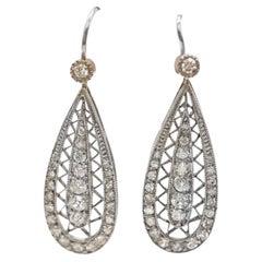 Art Deco Diamond Platinum Ear Pendants