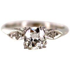 Art Deco Diamond Platinum Engagement Ring GIA Certified Diamond