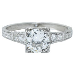 Art Deco Diamond Platinum Engraved Foliate Engagement Ring GIA