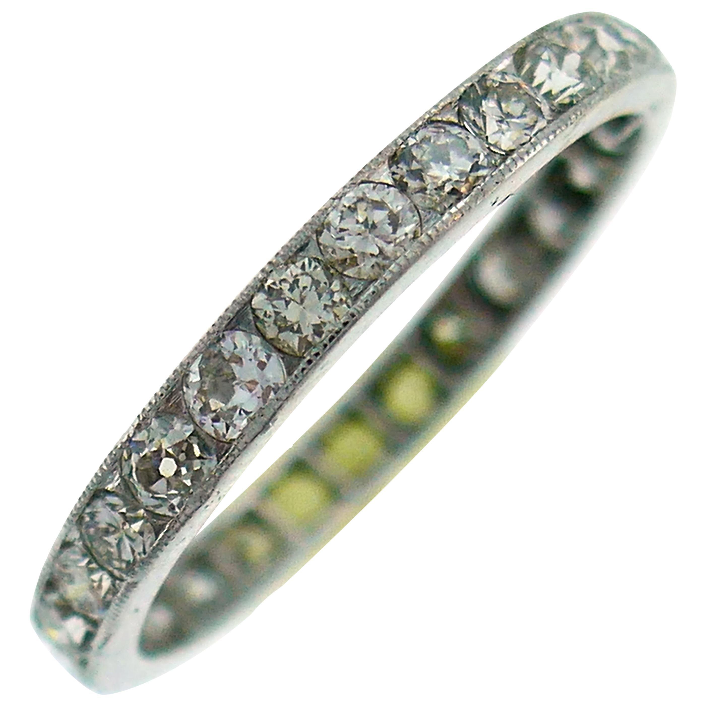 Art Deco Diamond Platinum Eternity Band Ring Old European Cut Wedding Size 7.5
