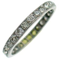 Art Deco Diamond Platinum Eternity Band Ring Old European Cut Wedding Size 7.5