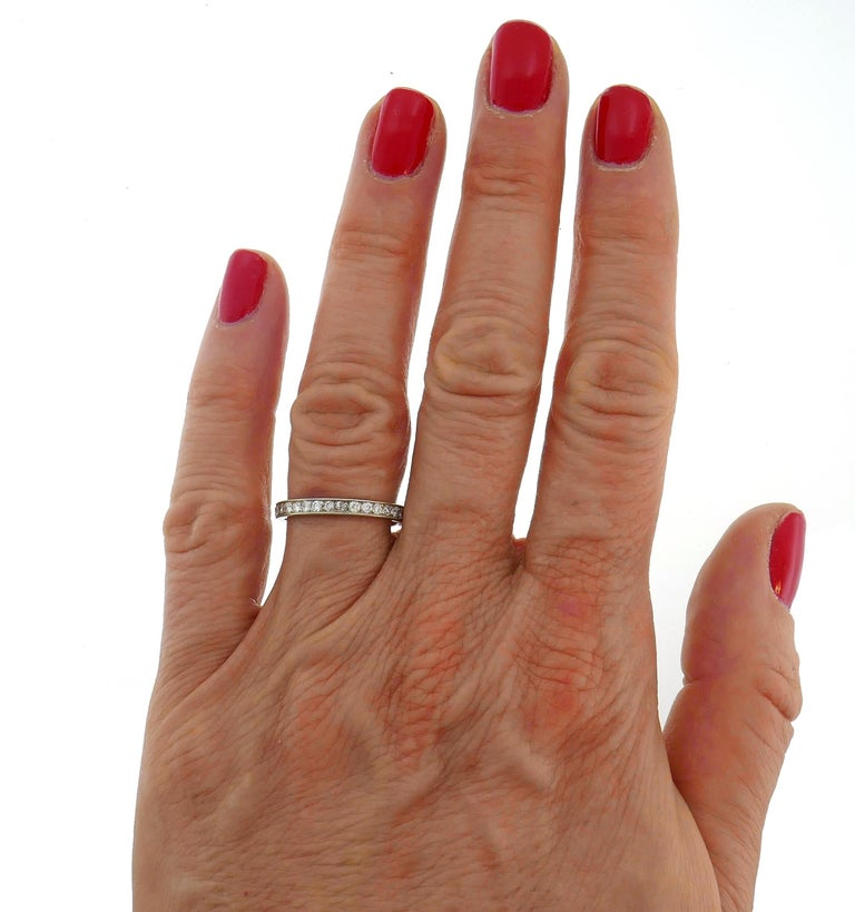Art Deco Diamond Platinum Eternity Band Ring Old European Cut Wedding In Good Condition For Sale In Beverly Hills, CA