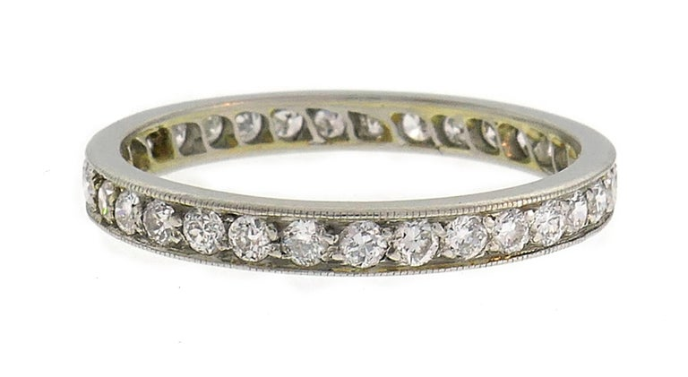 Women's Art Deco Diamond Platinum Eternity Band Ring Old European Cut Wedding For Sale
