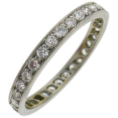 Art Deco Diamond Platinum Eternity Band Ring Old European Cut Wedding