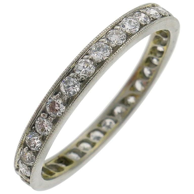 Art Deco Diamond Platinum Eternity Band Ring Old European Cut Wedding For Sale