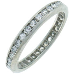 Art Deco Diamond Platinum Eternity Band Ring Single Cut Wedding Size 6.75