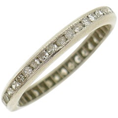 Art Deco Diamond Platinum Eternity Band Ring Single Cut Wedding Size 5.75