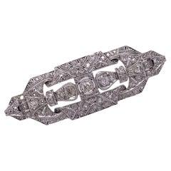 Art Deco Diamond Platinum Filigree Antique Brooch Pin Old Mine Cut Diamonds