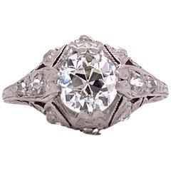 Art Deco Diamond Platinum Filigree Engagement Ring