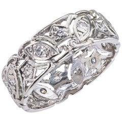 Art Deco Diamond Platinum Filigree Ring Band