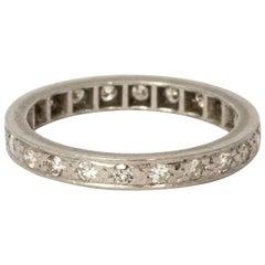 Art Deco Diamond Platinum Full Eternity Band