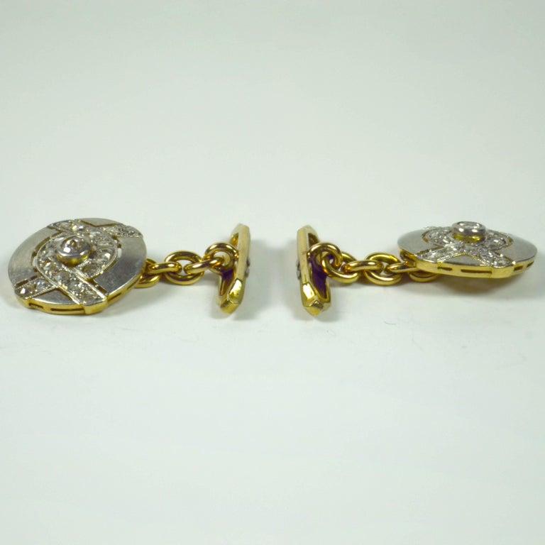 Art Deco Diamond Platinum Gold Cufflinks In Good Condition For Sale In London, GB