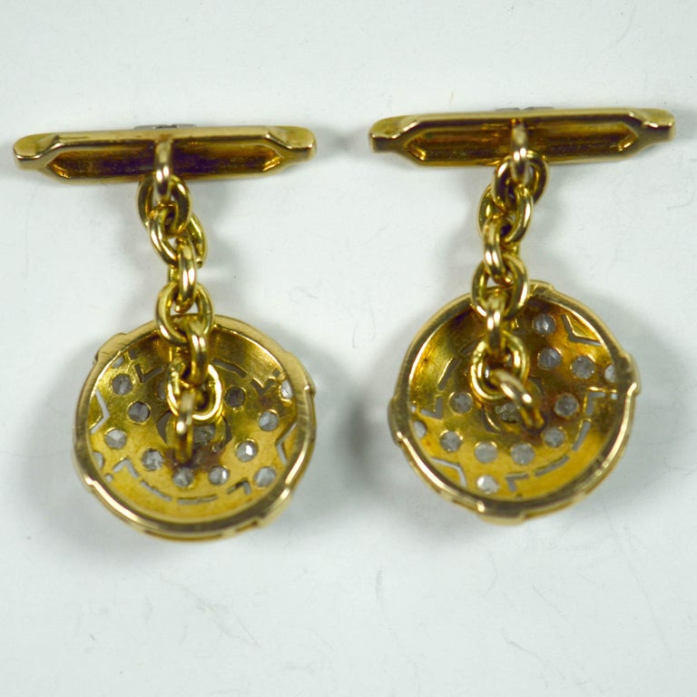 Art Deco Diamond Platinum Gold Cufflinks For Sale 1