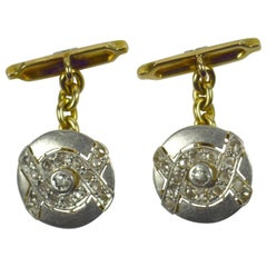 Art Deco Diamond Platinum Gold Cufflinks