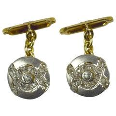 Art Deco Diamond Platinum Gold Cufflinks