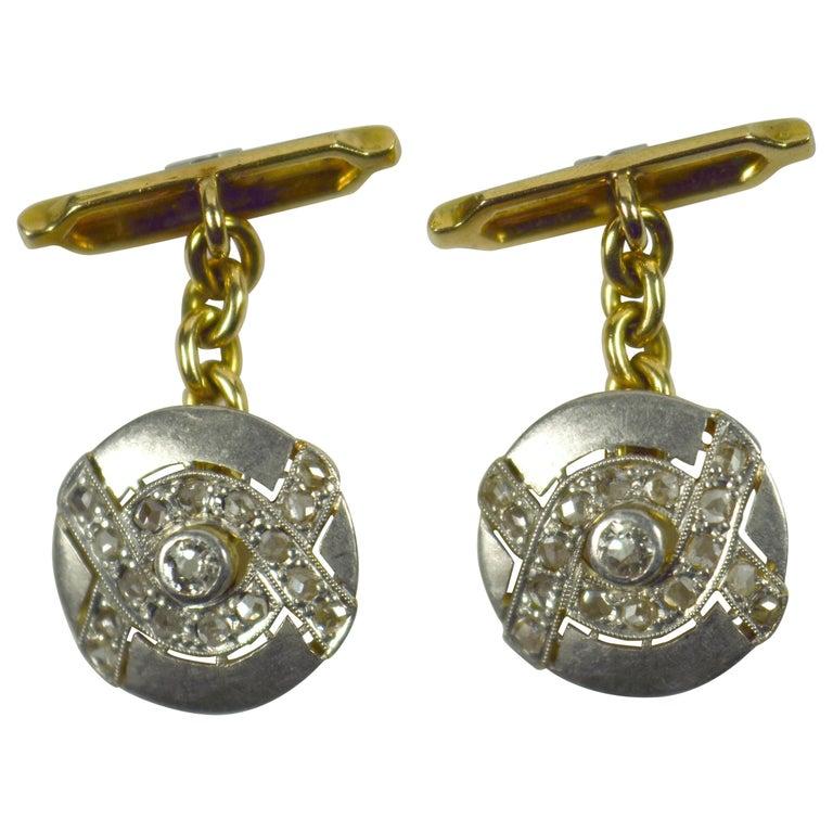 Art Deco Diamond Platinum Gold Cufflinks For Sale
