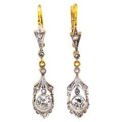 Art Deco Diamond Platinum Gold Drop Earrings