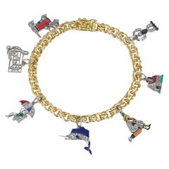 Art Deco Diamond Platinum Gold Enamel Charm Bracelet