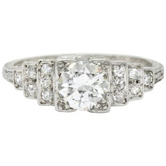 Art Deco Diamond Platinum Heart Engagement Ring