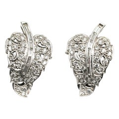 Art Deco Diamond Platinum Leaf Earrings