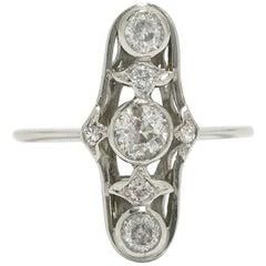 Art Deco Diamond Platinum Navette Long Wedding Engagement Ring Bridal Jewelry