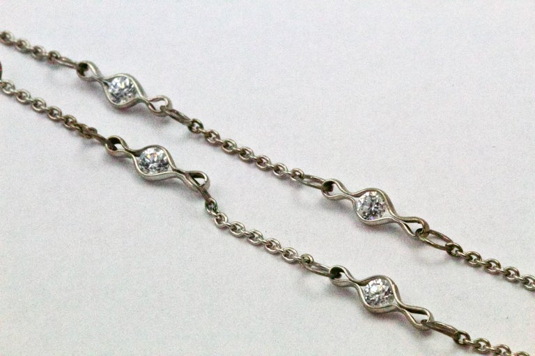 Women's Art Deco Diamond Platinum Necklace Chain For Sale