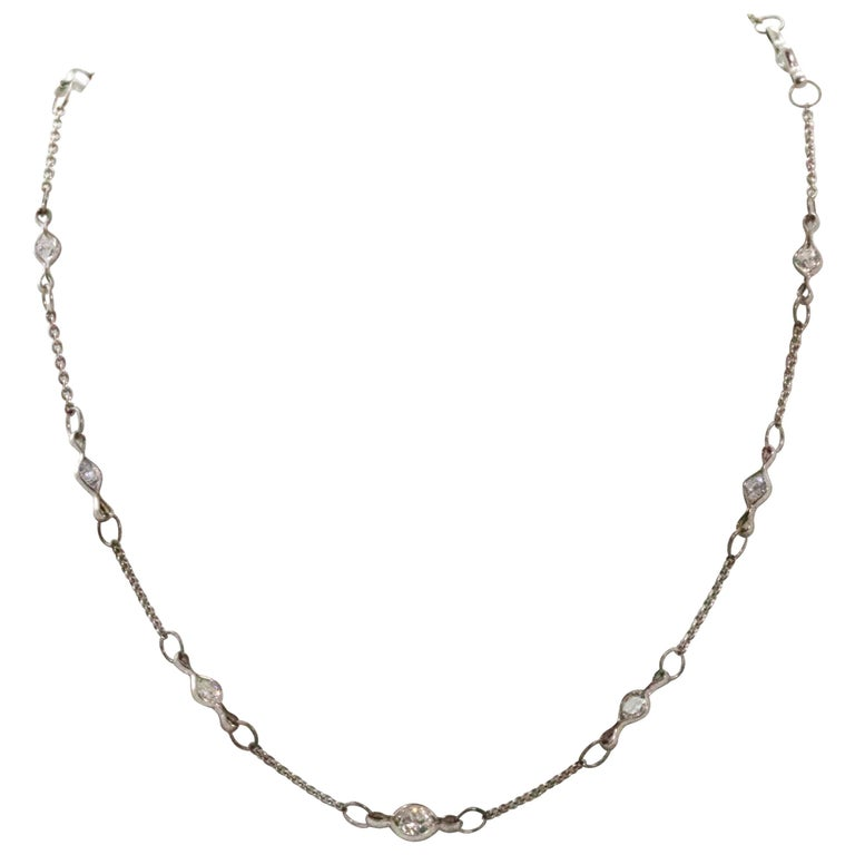 Art Deco Diamond Platinum Necklace Chain For Sale