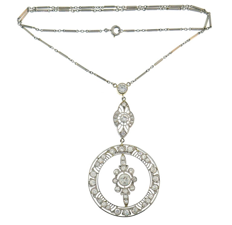 Old European Cut Art Deco Diamond Platinum Necklace For Sale