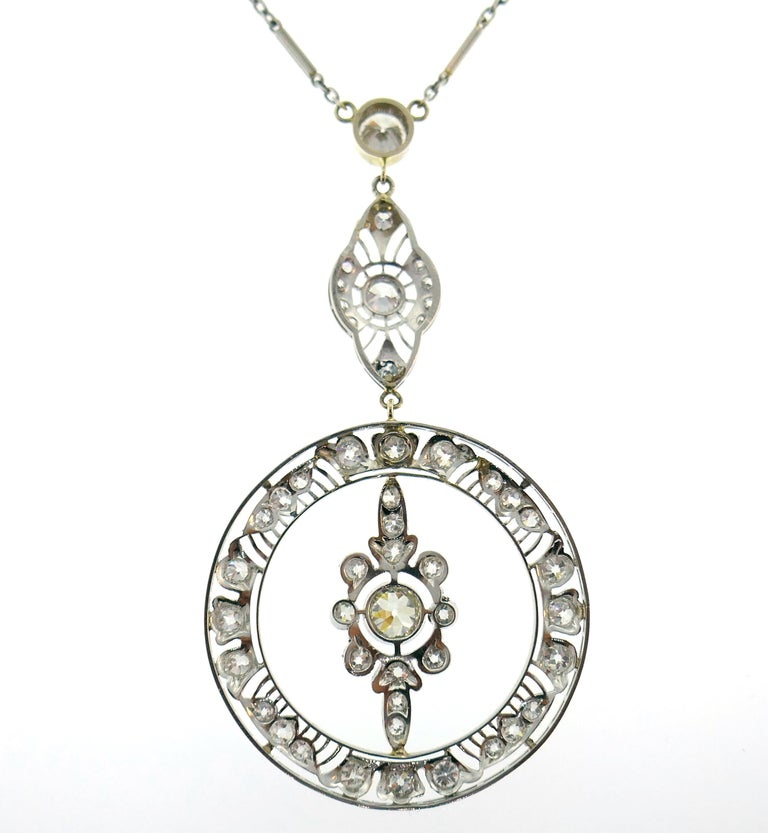 Women's Art Deco Diamond Platinum Necklace For Sale