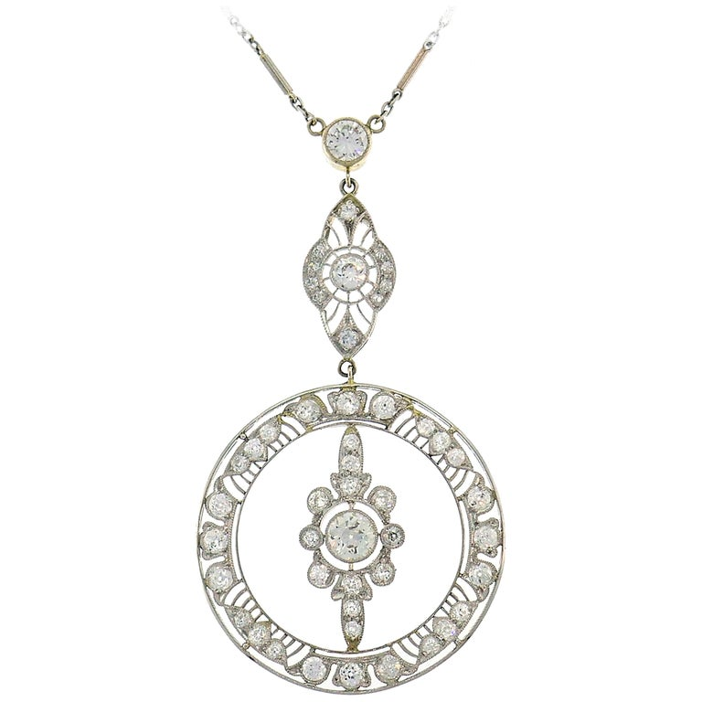 Art Deco Diamond Platinum Necklace For Sale
