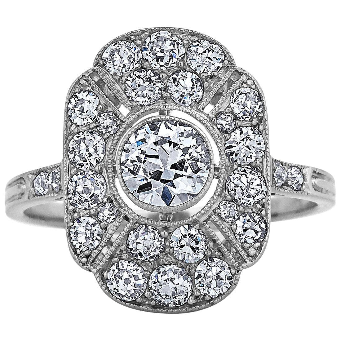 Art Deco Diamond Platinum Oval Plaque Ring