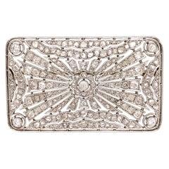 Diamond Platinum Rectangular Art Deco Brooch Pin Estate Fine Jewelry