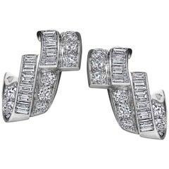 Art Deco Diamond Platinum Ribbon Earrings