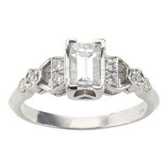 Art Deco Diamond Platinum Ring 0.81 Carat