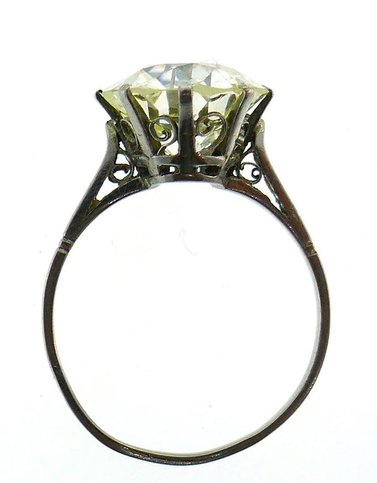 Women's Art Deco Diamond Platinum Solitaire Ring, 4.86 Carat Old European Cut For Sale