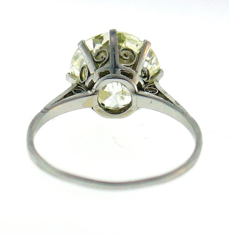 Art Deco Diamond Platinum Solitaire Ring, 4.86 Carat Old European Cut For Sale 1