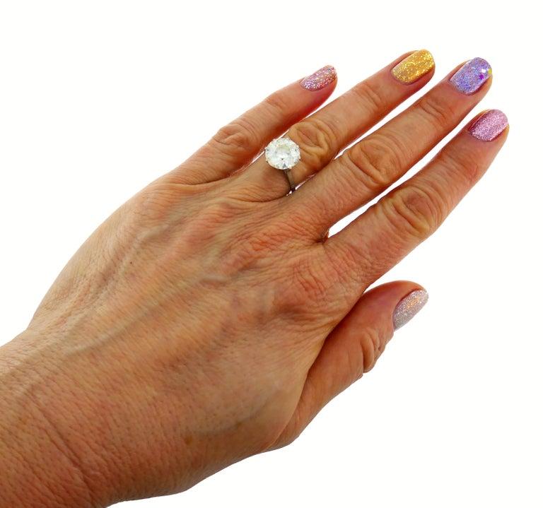 Art Deco Diamond Platinum Solitaire Ring, 4.86 Carat Old European Cut For Sale 2