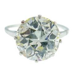 Art Deco Diamond Platinum Solitaire Ring, 4.86 Carat Old European Cut