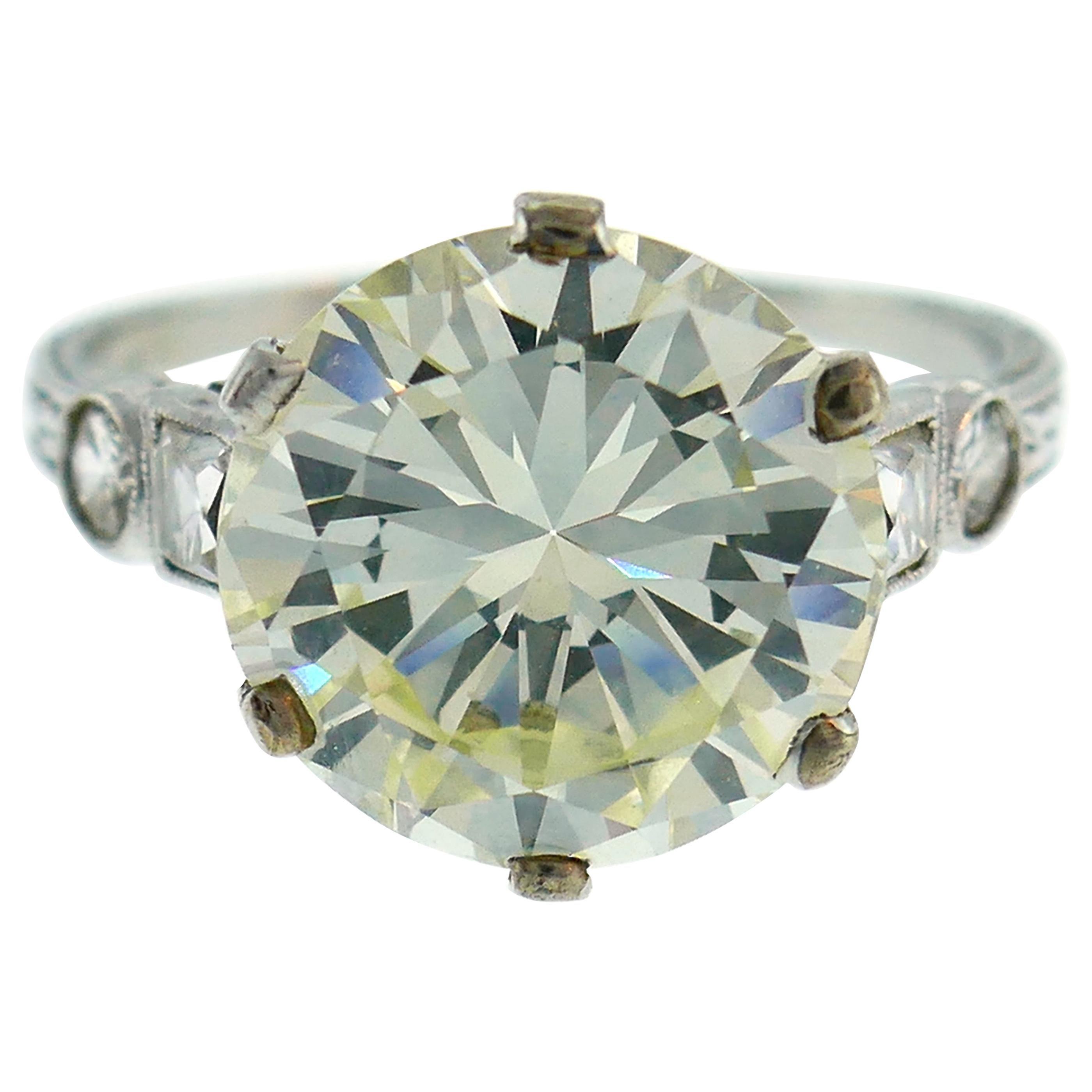 Art Deco Diamond Platinum Solitaire Ring, 5.26 Carat Old European Cut