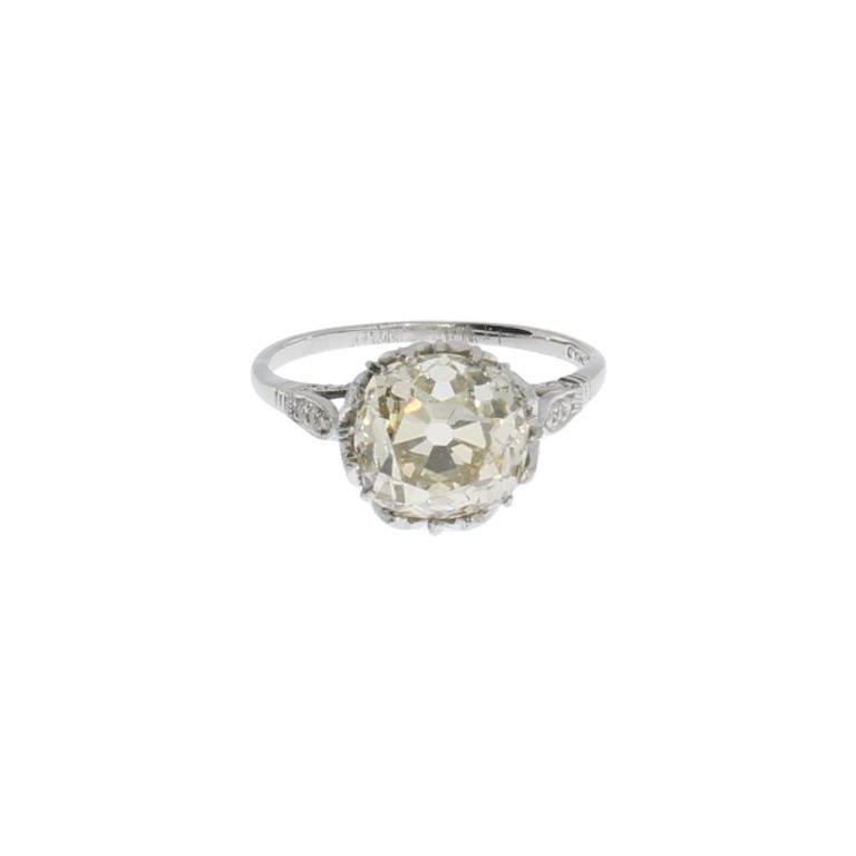 Art Deco Diamond Platinum Solitaire Ring