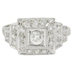 Art Deco Diamond Platinum Square Stepped Engagement Ring