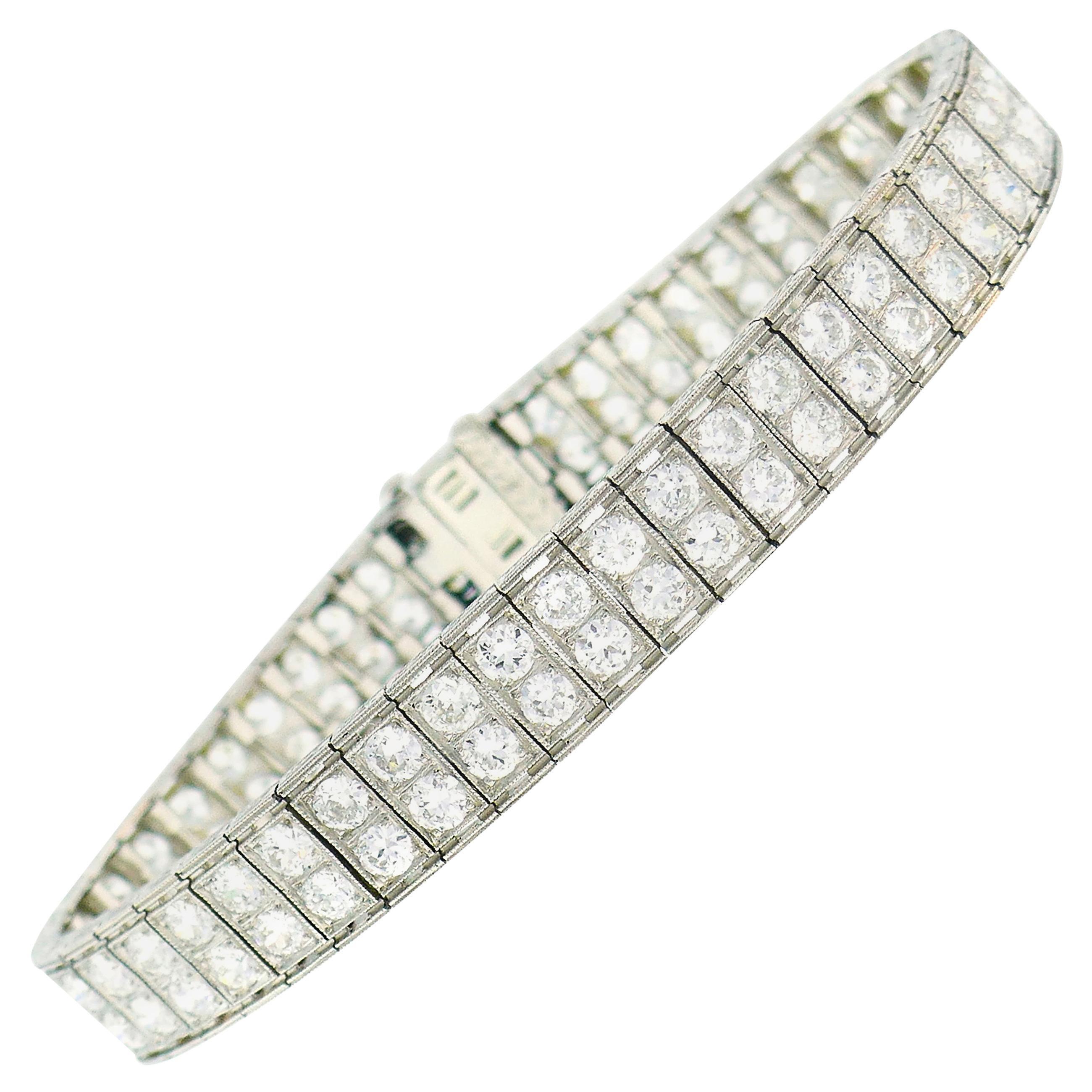 Art Deco Diamond Platinum Tennis Line Bracelet