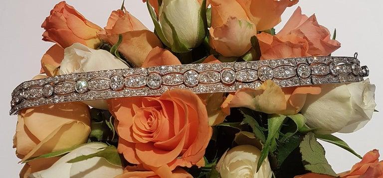 Art Deco Diamond Platinum White Gold Bracelet For Sale 6