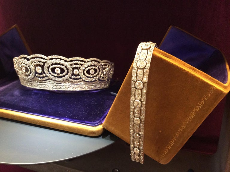 Art Deco Diamond Platinum White Gold Bracelet For Sale 7