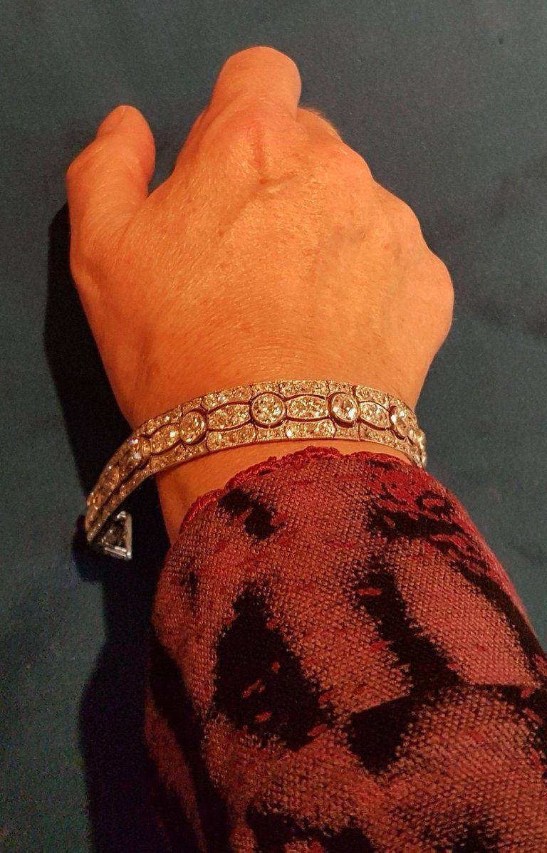 Art Deco Diamond Platinum White Gold Bracelet In Excellent Condition For Sale In Berlin, DE
