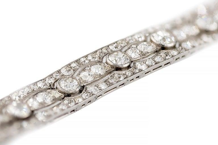 Women's Art Deco Diamond Platinum White Gold Bracelet For Sale
