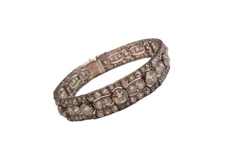 Art Deco Diamond Platinum White Gold Bracelet For Sale 1