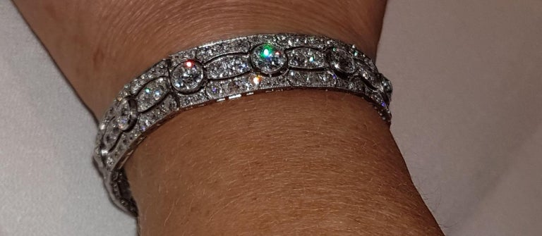 Art Deco Diamond Platinum White Gold Bracelet For Sale 2