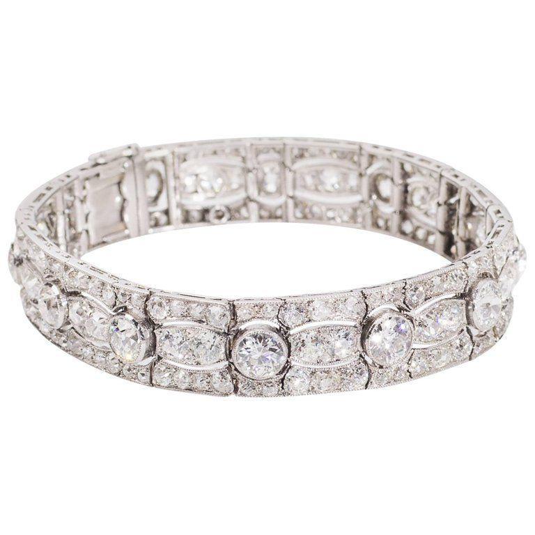 Art Deco Diamond Platinum White Gold Bracelet For Sale 3
