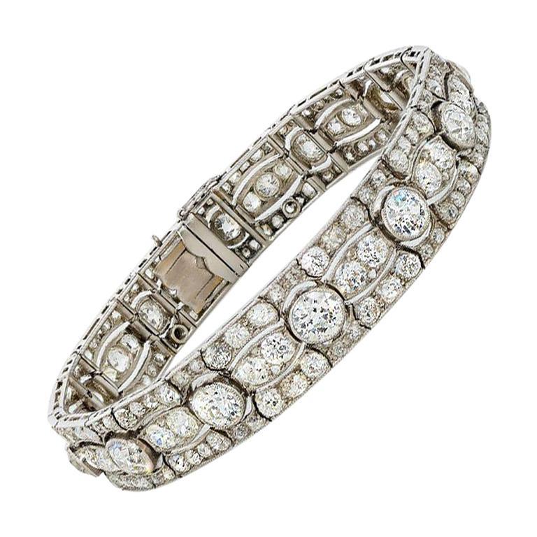Art Deco Diamond Platinum White Gold Bracelet For Sale